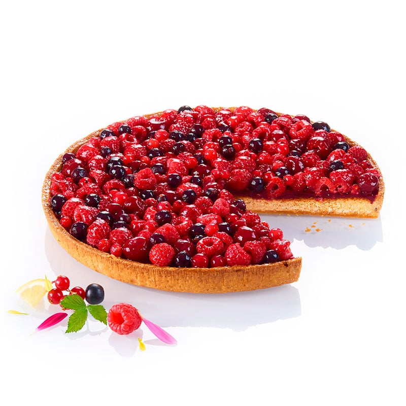 tarte aux fruits rouges et biscuit au citron